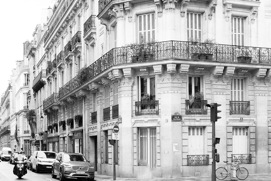 Left Bank Paris Street Black and White