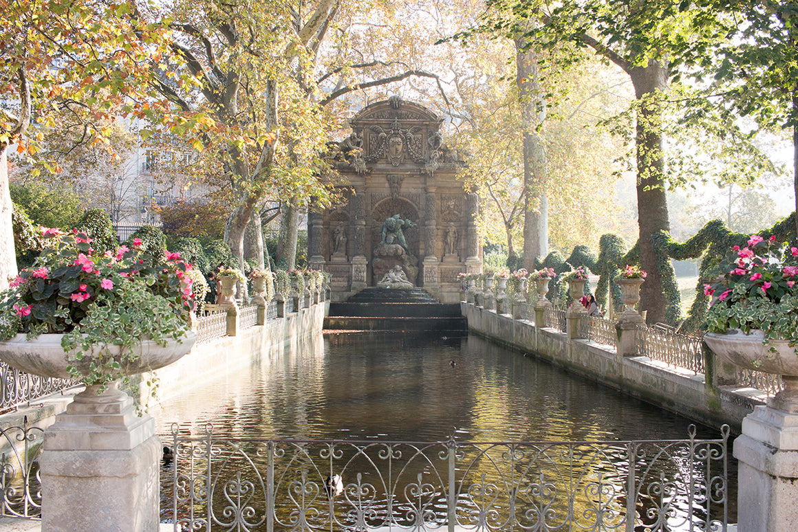 Medici Fountain in Luxembourg Gardens in Fall
