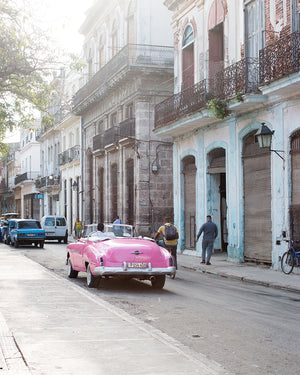 Pink Havana Taxi on the Streets of Cuba