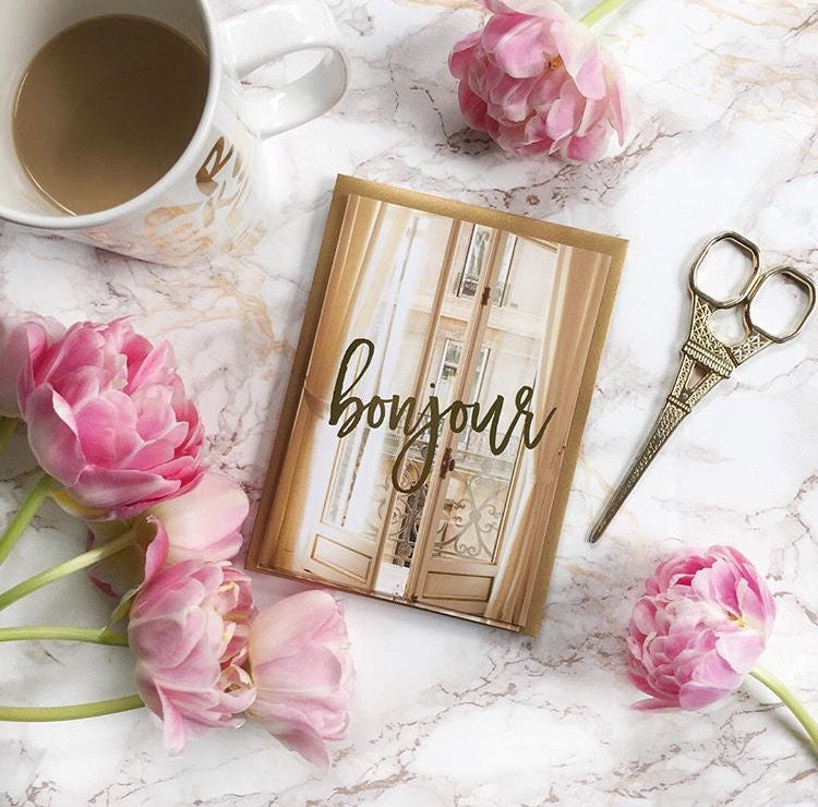 Set of 5 Bonjour Paris Notecard