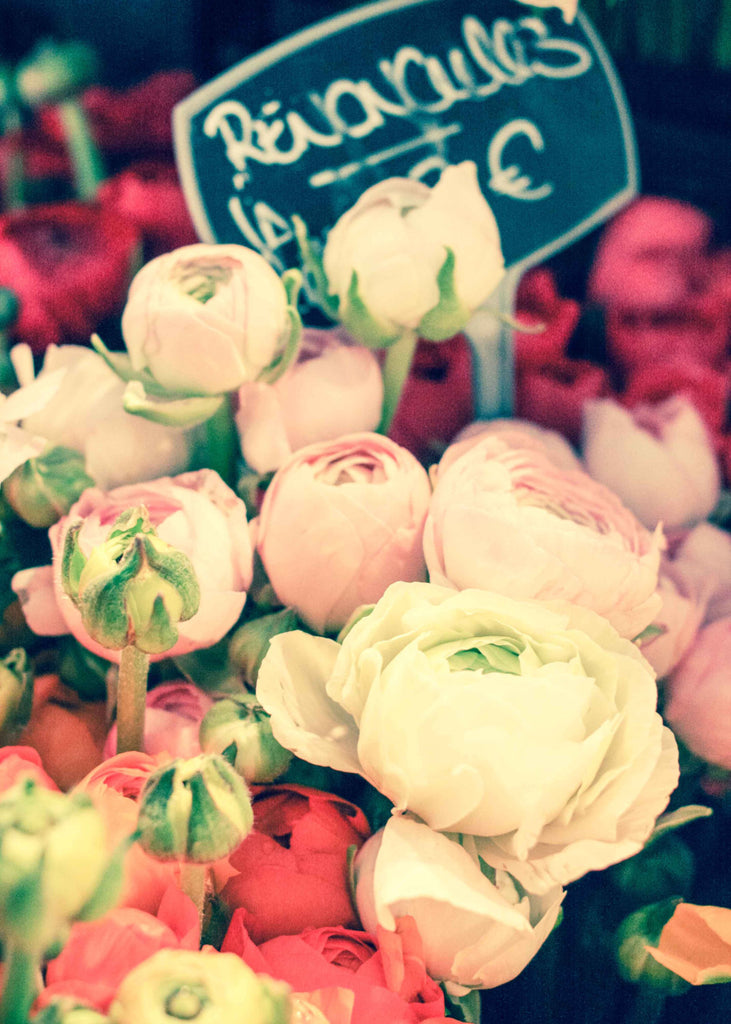 Paris Photography, Romantic Ranunculus For Sale, Paris Street Market, flower decor, chalkboard menu, Paris Wall Art, Spring in Paris