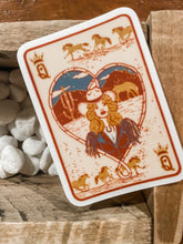 Vintage Cowgirl Queen of Hearts Sticker
