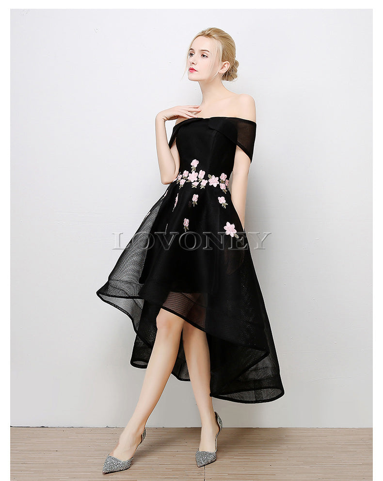 LOVONEY High Low Sexy Boat Neck Evening Dress – lilylolita