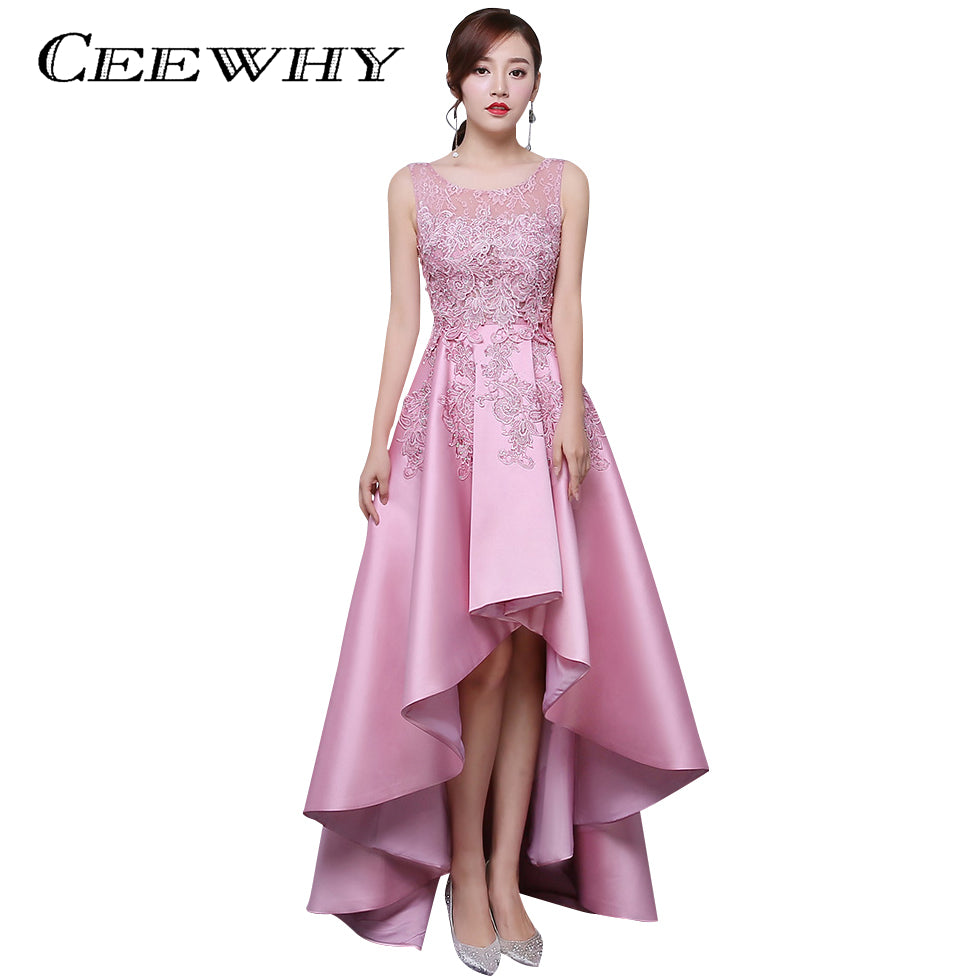 Ceewhy Candy Color Asymmetrical Evening Dress Short Front Long Back