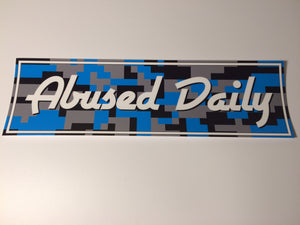 Abused Daily Blue Digital Camo Slap Sticker