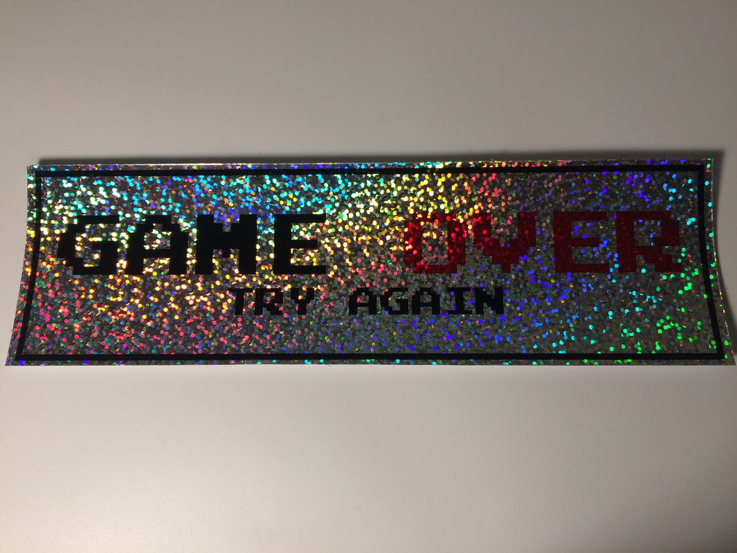 Game Over Try Again Sparkle Silver Slap Sticker