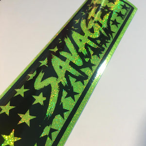 Savage fluorescent green sparkle silver slap sticker by toxicvinyls.com
