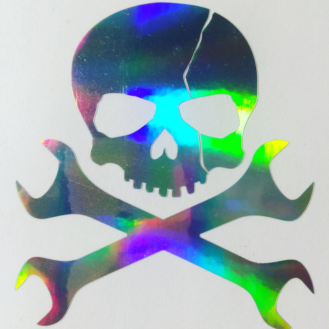 Spanner Mechanic Skull Vinyl Sticker