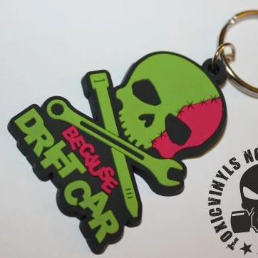 Because Drift Car Skull Keyring
