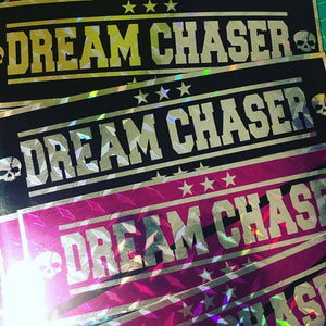 Dream Chaser Black or Purple on Diamond Plate Slap Sticker