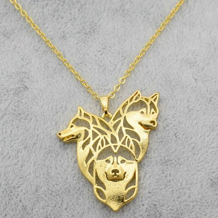 Siberian Husky in Goldtone (Full Set of 3 necklaces)