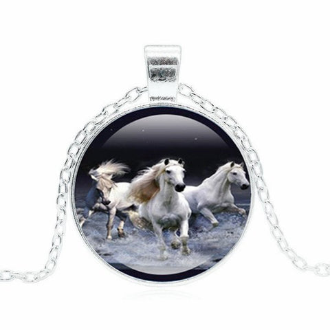 Three Running Horses Necklace -- Cabochon