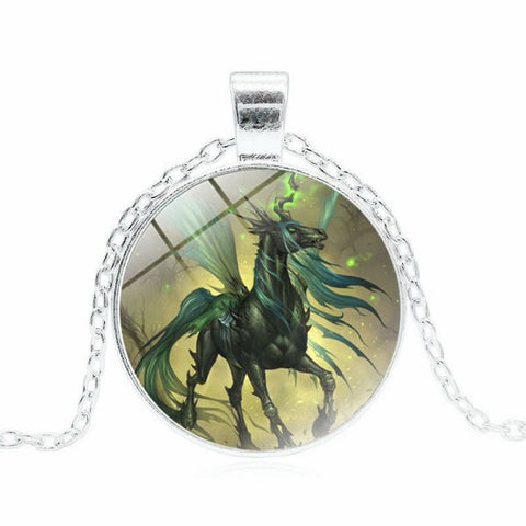 Horse-Dragon-Unicorn-Pegasus Necklace -- Cabochon