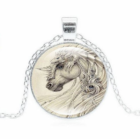 White Armored War Horse Necklace -- Cabochon