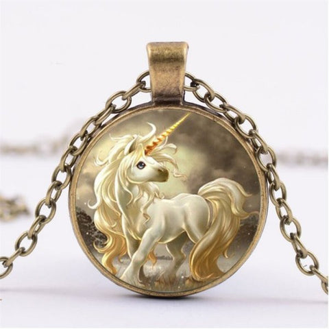 Cute Unicorn Necklace -- Cabochon