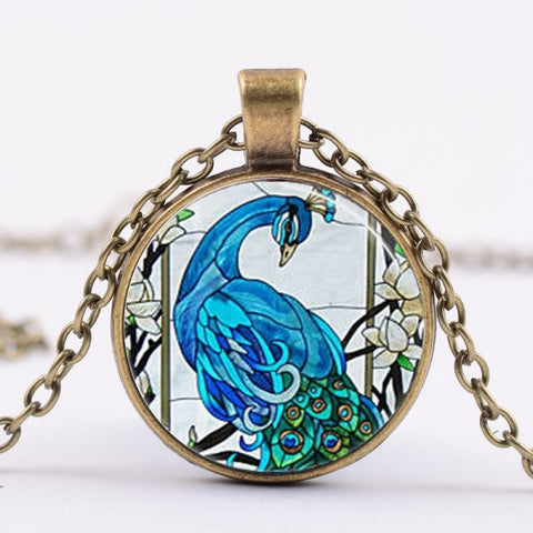 Peacock Necklace -- Cabochon