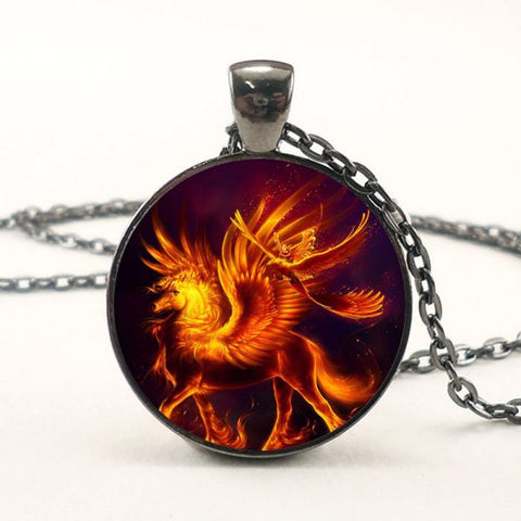 Flame Pegasus Necklace -- Cabochon