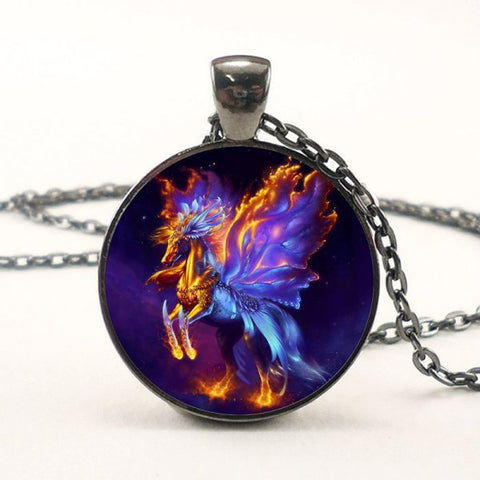 Fire and Brimstone Pegasus Necklace -- Cabochon