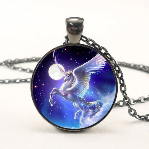 Moon in a Dream Pegasus Necklace -- Cabochon