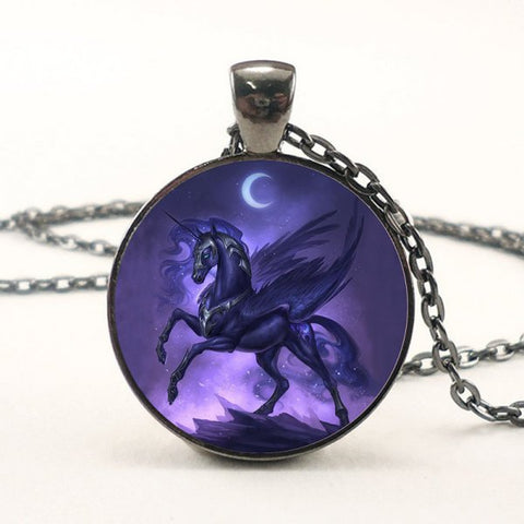 Black and purple Unicorn Pegasus Necklace -- Cabochon