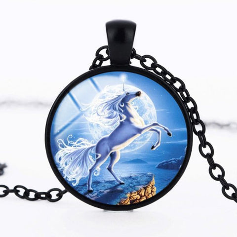 Blue Fairy Unicorn Necklace -- Cabochon