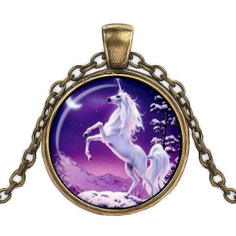 Purple Unicorn Necklace -- Cabochon
