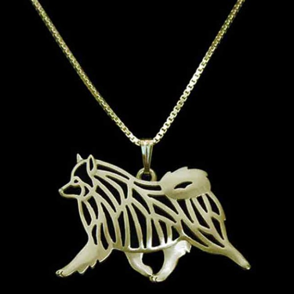 Keeshond Necklace Set in Goldtone