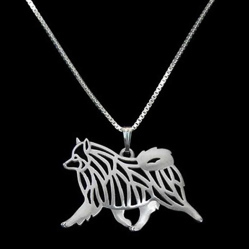 Keeshond Necklace and Earring Set in Silver Tone