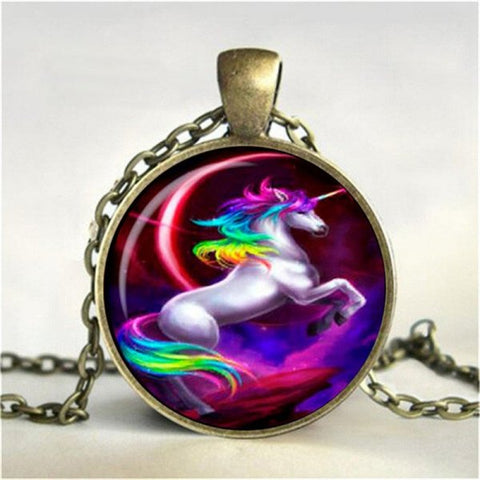 Rainbow Unicorn Necklace -- Cabochon