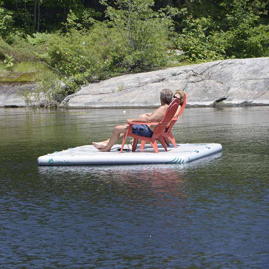 Jack Pine Cottage Floating Dock - Inflatable Island Swim Platform Inflatable Dock 4theoutdoors America US USA SUP outdoors