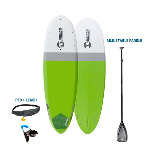 "AUBURN RENTAL: KM Hawaii Malibu Surf- Green - 10'2"" x 32"" + Paddle + Leash/PFD -Premium  Paddleboard Rental 4theoutdoors America US USA SUP outdoors"