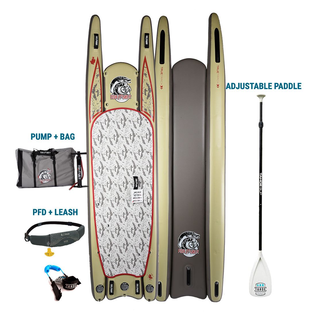 TRUCKEE/AUBURN RENTAL: Premium Fish Stalker Inflatable + Pump/Bag + Paddle + Leash/PFD Rental 4theoutdoors America US USA SUP outdoors