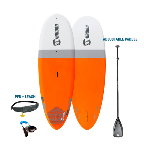 "AUBURN RENTAL - KM Hawaii Malibu Surf - Premium  Paddleboard - Orange - 9'2"" x 32"" + Paddle + Leash/PFD Rental 4theoutdoors America US USA SUP outdoors"