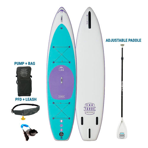 TRUCKEE/AUBURN RENTAL: Premium Inflatable Tahoe SUP YoFit Paddle Board + Pump/Bag + Paddle + Leash/PFD Rental 4theoutdoors America US USA SUP outdoors