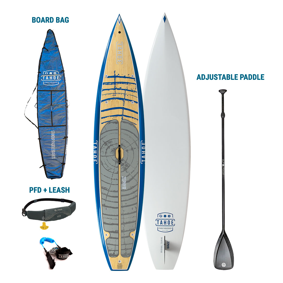 TRUCKEE/AUBURN RENTAL: Tahoe SUP Zephyr Premium Stand Up Paddleboard + Board Bag + Paddle + Leash/PFD Rental 4theoutdoors America US USA SUP outdoors