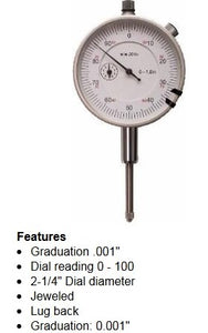 "0-1"" Travel DIAL INDICATOR    .001 graduation"