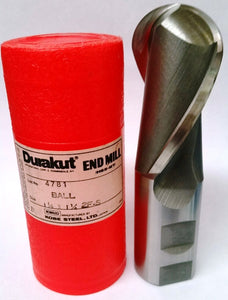 1-1/2x1-1/4x2 2Flute Ball End Mill HSS  Durakut