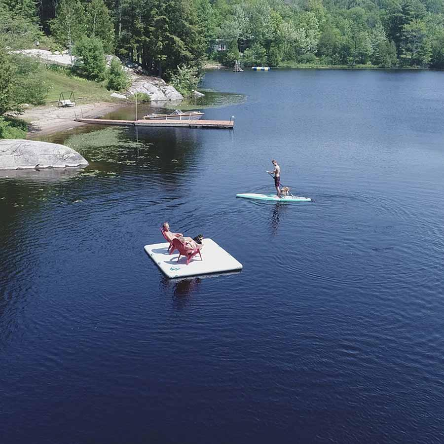 Jack Pine Cottage Floating Dock - Inflatable Island swim platform Inflatable Dock 4theoutdoors Canada SUP outdoors