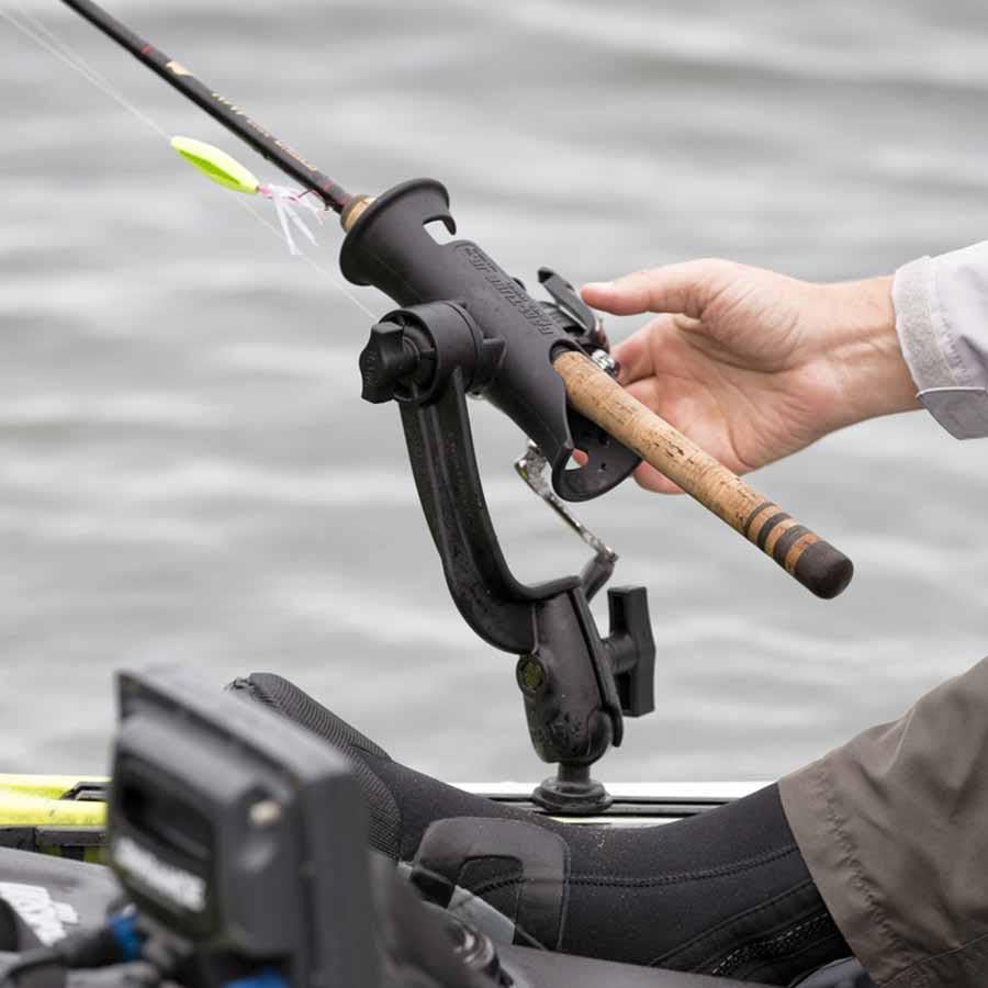 RAM Tube Jr. Fishing Rod Holder with RAM-ROD Revolution Ratchet/Socket System Mounts 4theoutdoors Canada SUP outdoors