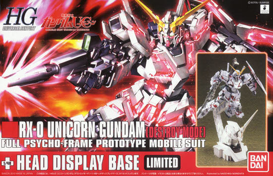 HG 1/144 #100 RX-0 Unicorn Gundam (Destroy Mode) + Unicorn Head