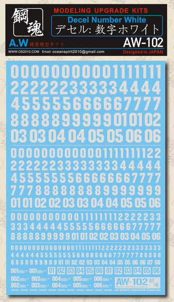 MAD - AW-102 Waterslide Decal: Numbers (White)