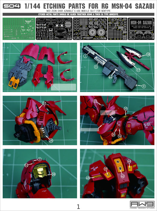 MAD - S04 RG Sazabi Photo Etch Upgrade Parts
