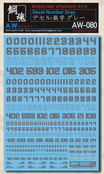 MAD - AW-080 Waterslide Decal: Numbers (Gray)