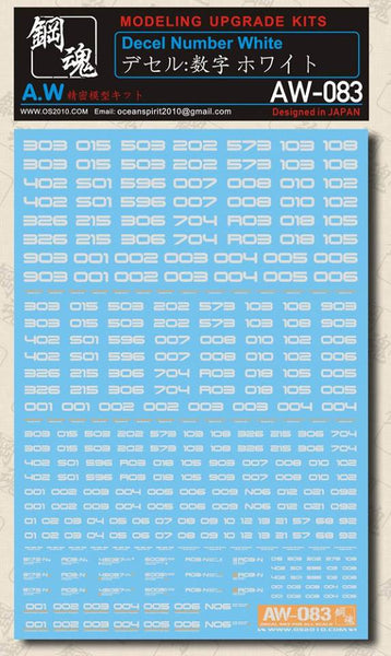 MAD - AW-083 Waterslide Decal: Numbers (White)