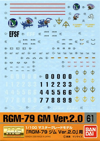 Gundam Decal 61 - RGM-79 GM Ver 2.0