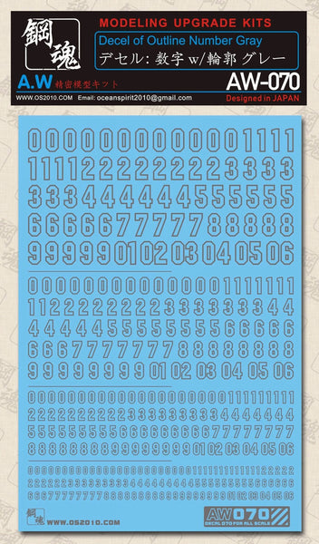 MAD - AW-070 Waterslide Decal: Numbers (Gray)