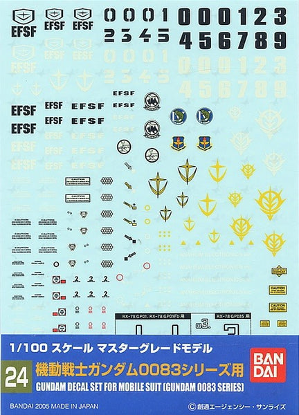 Gundam Decal 24 - Gundam Decal Set for Mobile Suit (Gundam 0083 Series)