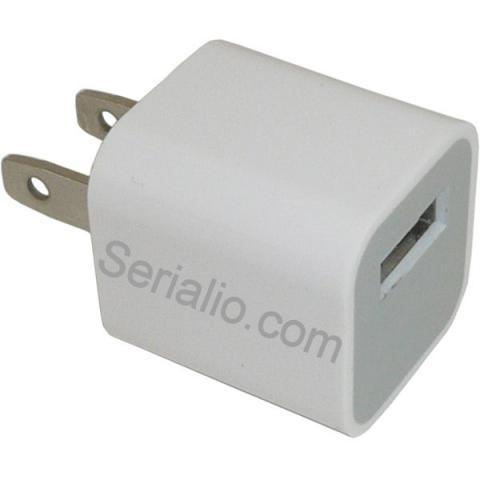 Power Adapter AC to USB A (USA Plug) Small Cube