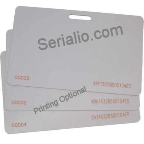 High quality CR80 (54mm x 85mm) 30mil white PVC HF Icode SLIX NFC-RFID and UHF blank cards with lanyard cut out