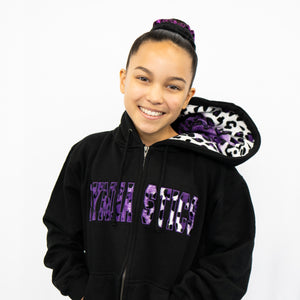 Purple Animal Print | Zip Up Sweatshirt